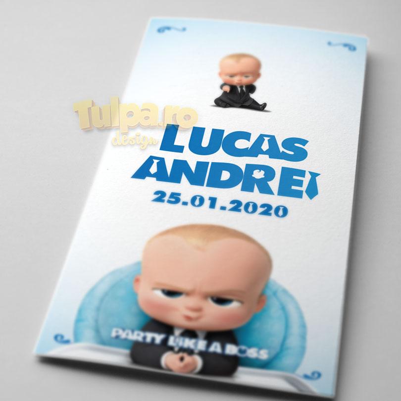 Invitaţie cu Boss Baby pentru botez