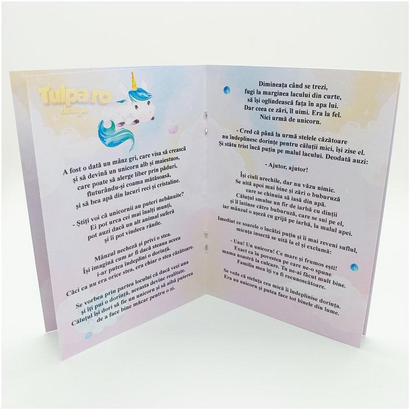 Mărturie botez Micul Unicorn, cărticică cu 6 pagini pentru băieţei