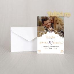 Invitaţie de nuntă personalizabilă cu poză