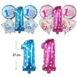Set baloane aniversar pentru taiere de mot fetita