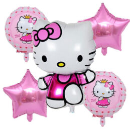 Set baloane Hello Kitty format din 5 piese.