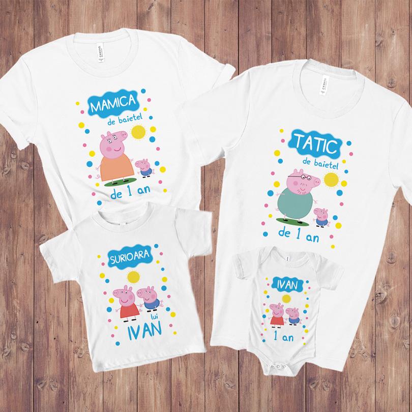 Set tricouri aniversare cu Peppa Pig